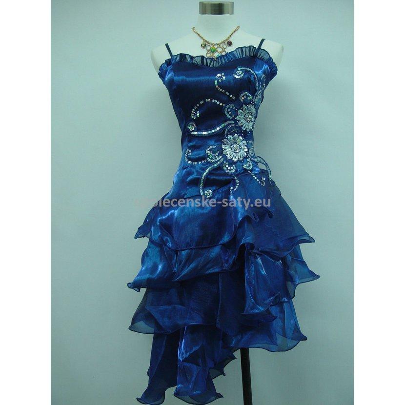 Modré krátké společenské šaty na ples pro plnoštíhlé 50-52  e155d6c9e0