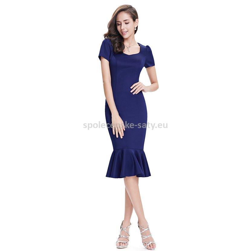 Modré krátké pouzdrové šaty pod kolena s rukávem 36 S  91ec2afe4ab
