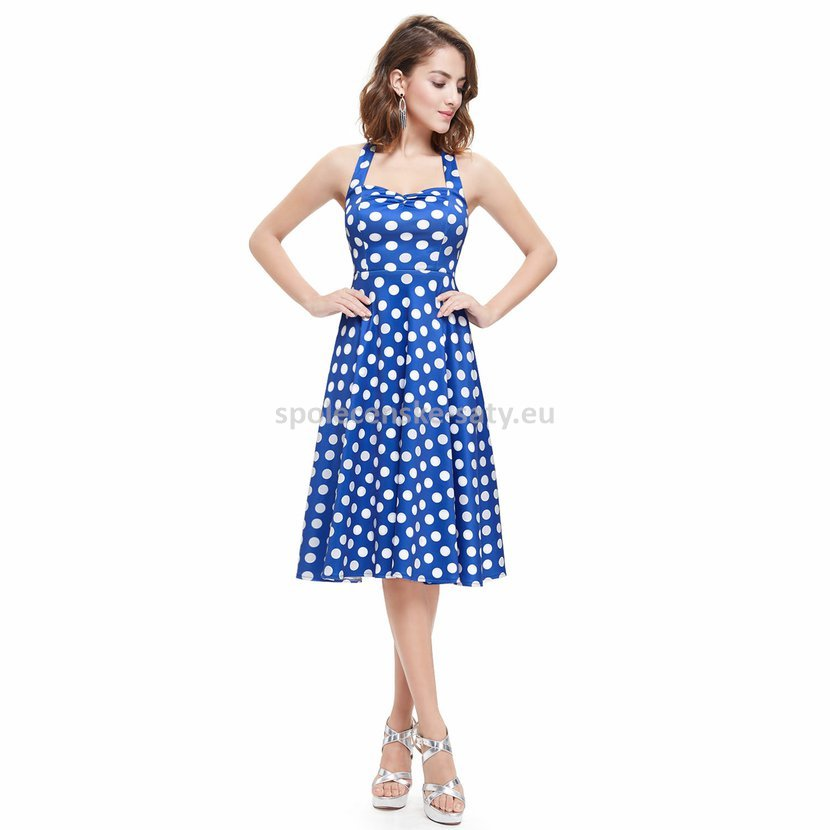 0a1db64d90a Modré šaty s puntíky pod kolena za krk na svatbu host 44 XXL