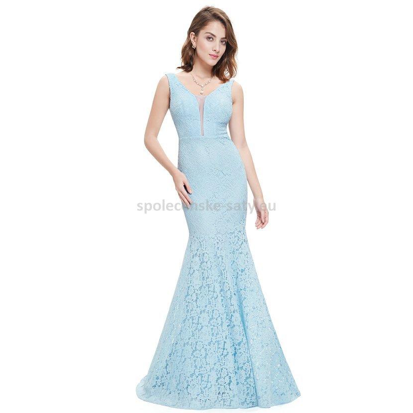 3e178a39e36d Světle modré dlouhé luxusní šaty krajkové 34-36