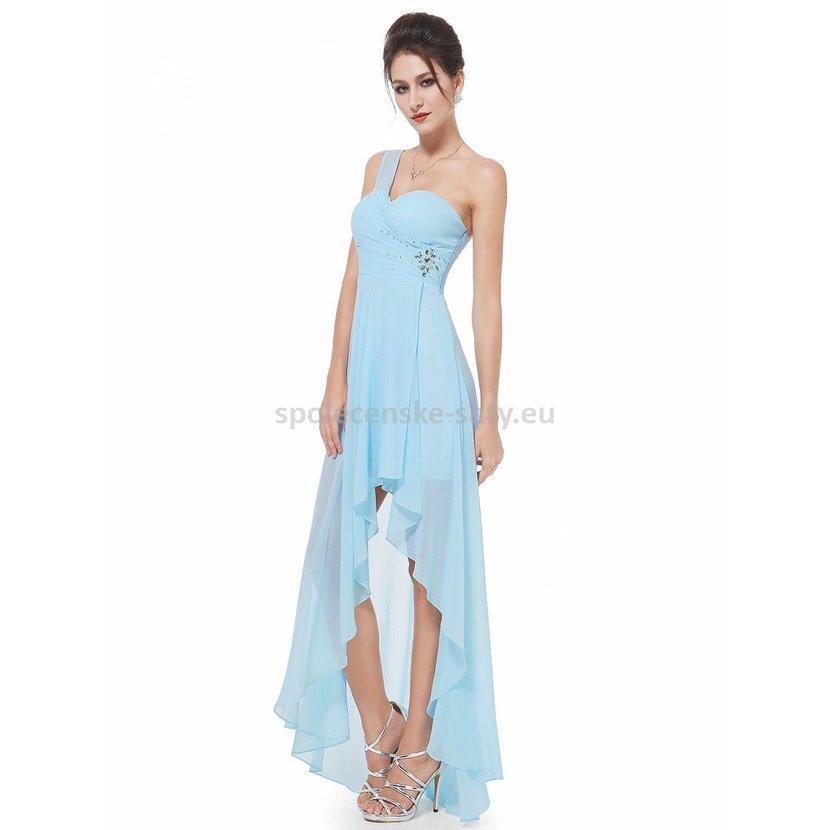 Světle modré asymetrické společenské šaty na svatbu 40-42  4a1894e4f6