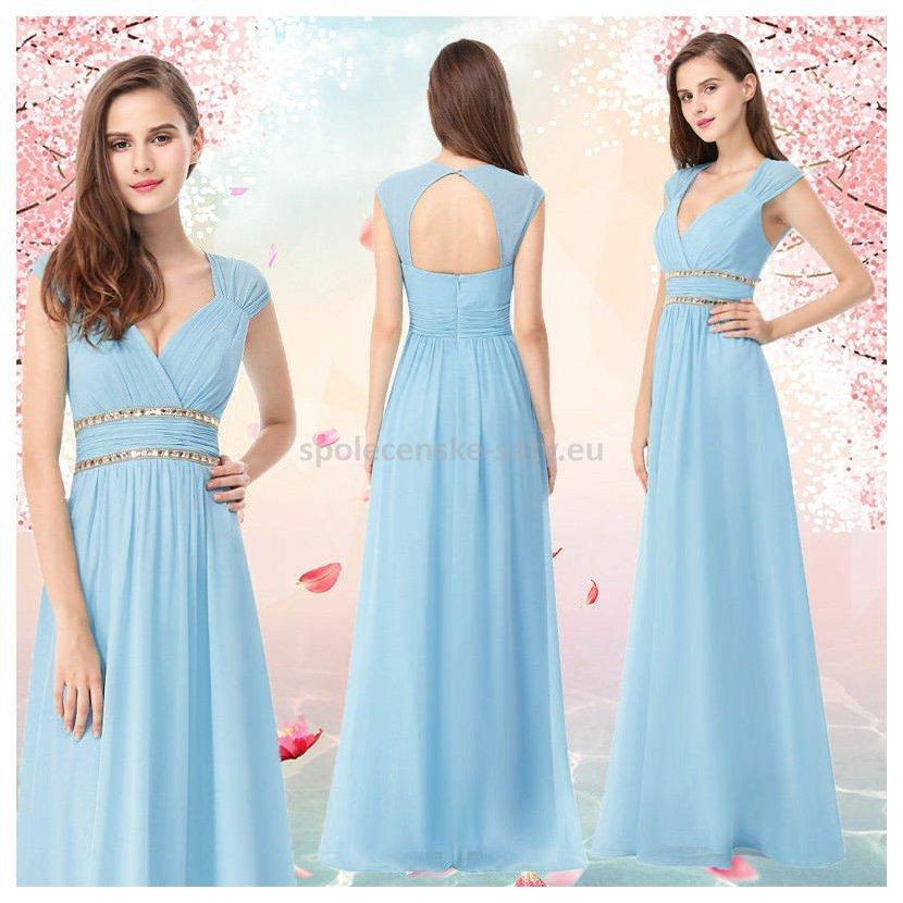 Blankytné dlouhé společenské šaty ve stylu řecké bohyně 42 ... 39ff493eab5
