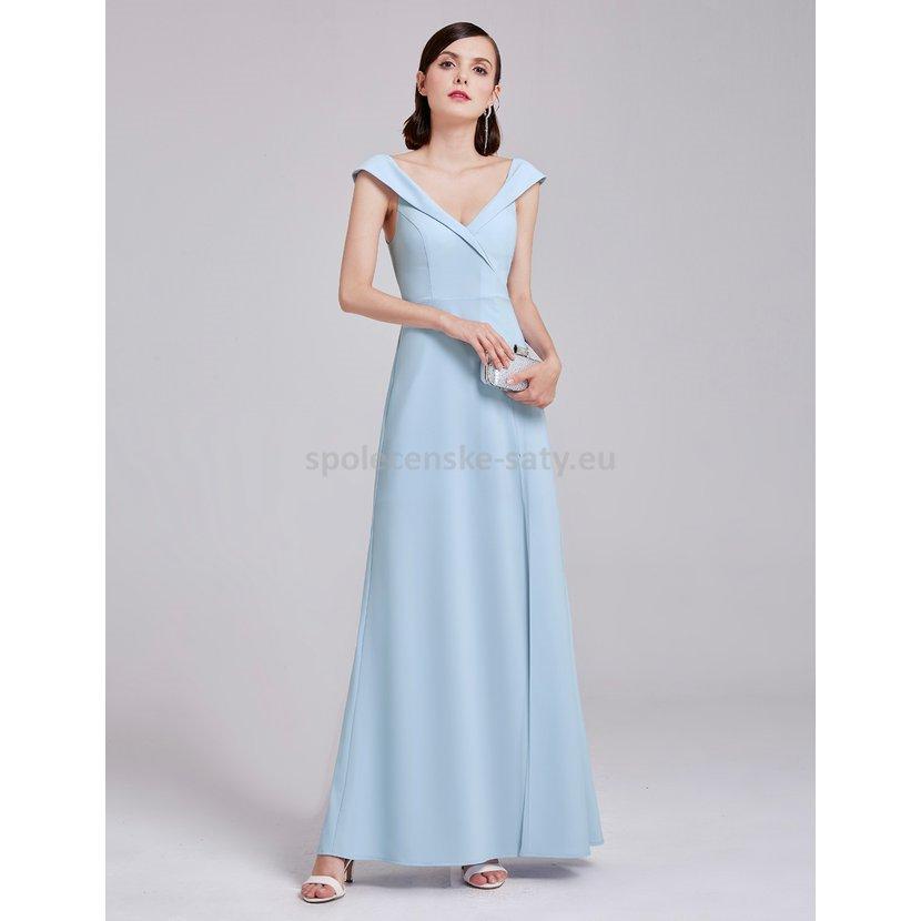 Světle modré dlouhé sexy šaty s rozparkem 42  8427cbb25b