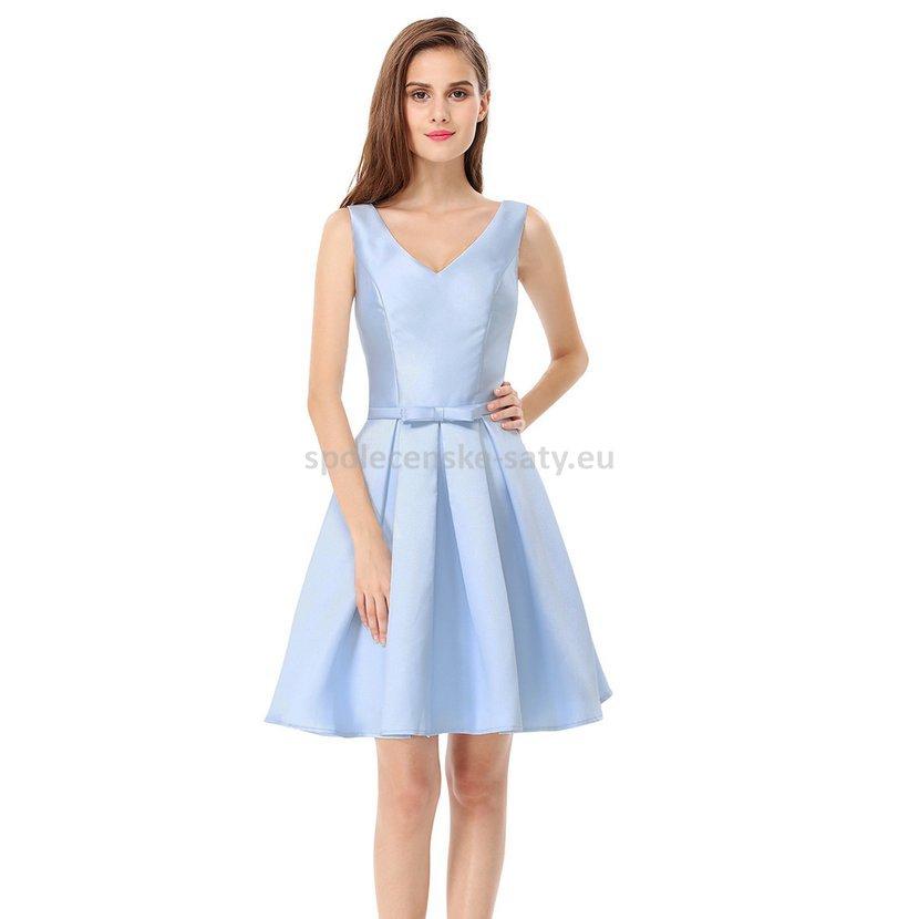 87a7470417e Modré světle krátké šaty na svatbu host družička 34-36