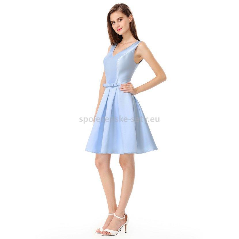 Modré světle krátké šaty na svatbu host družička 34-36  58c04606af