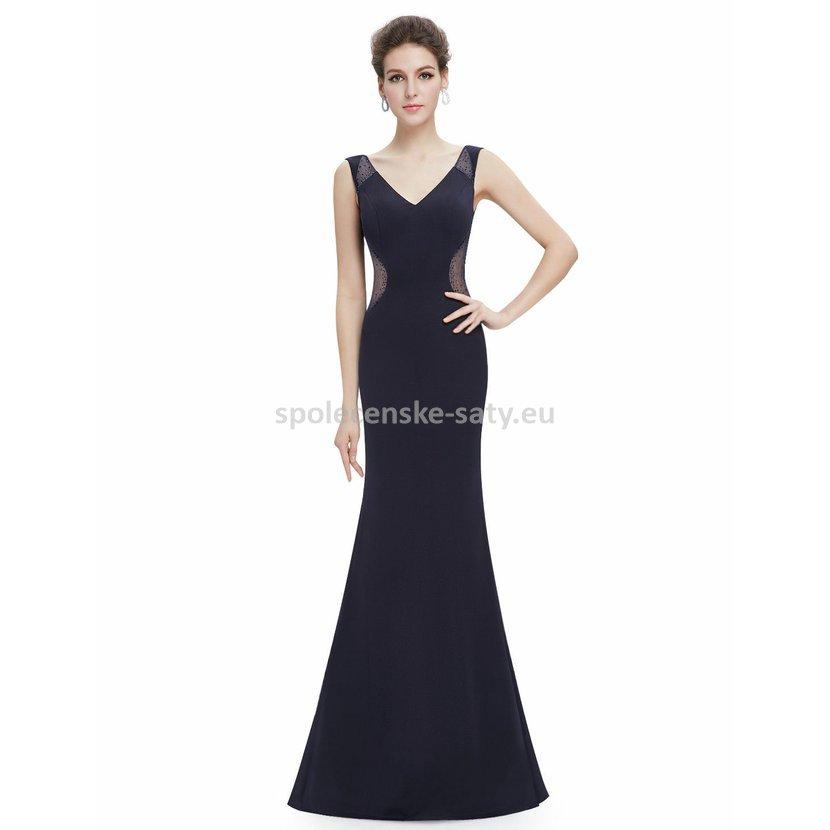 Tmavě modré dlouhé šaty sexy na večer na ples svatbu 34 XS  b762836aaeb
