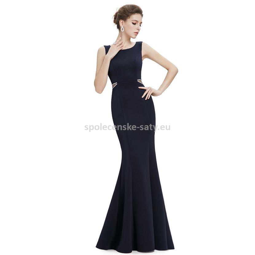 Tmavě modré dlouhé pouzdrové šaty 38-40  ba3ab1debd