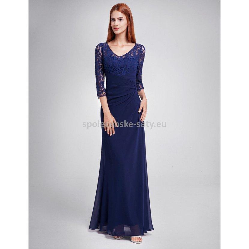 Modré tmavé dlouhé večerní společenské šaty s rukávem 38 M  c3f086c443