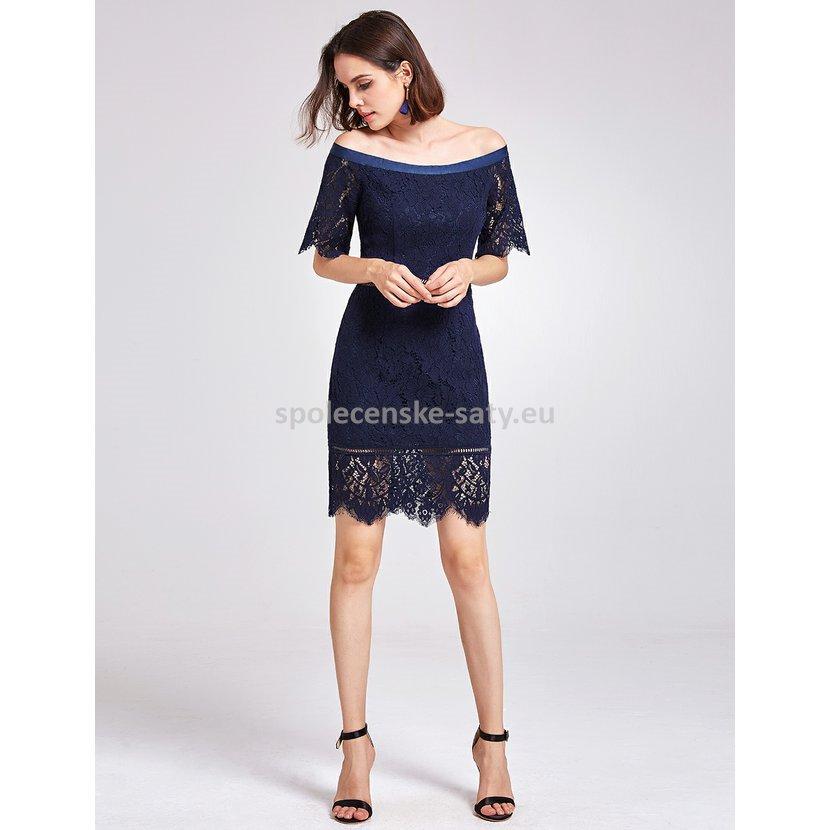 Tmavě modré krátké krajkové šaty zajímavé 34-36  6a8b5d2807