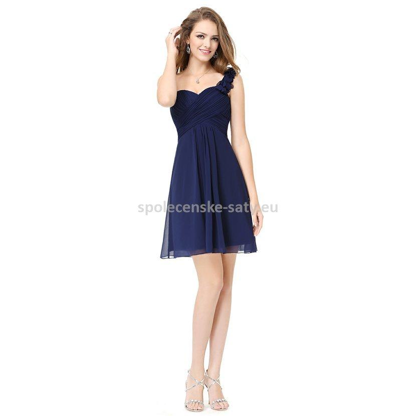 Modré tmavé krátké šaty koktejlky na jedno rameno 46 45460c749d