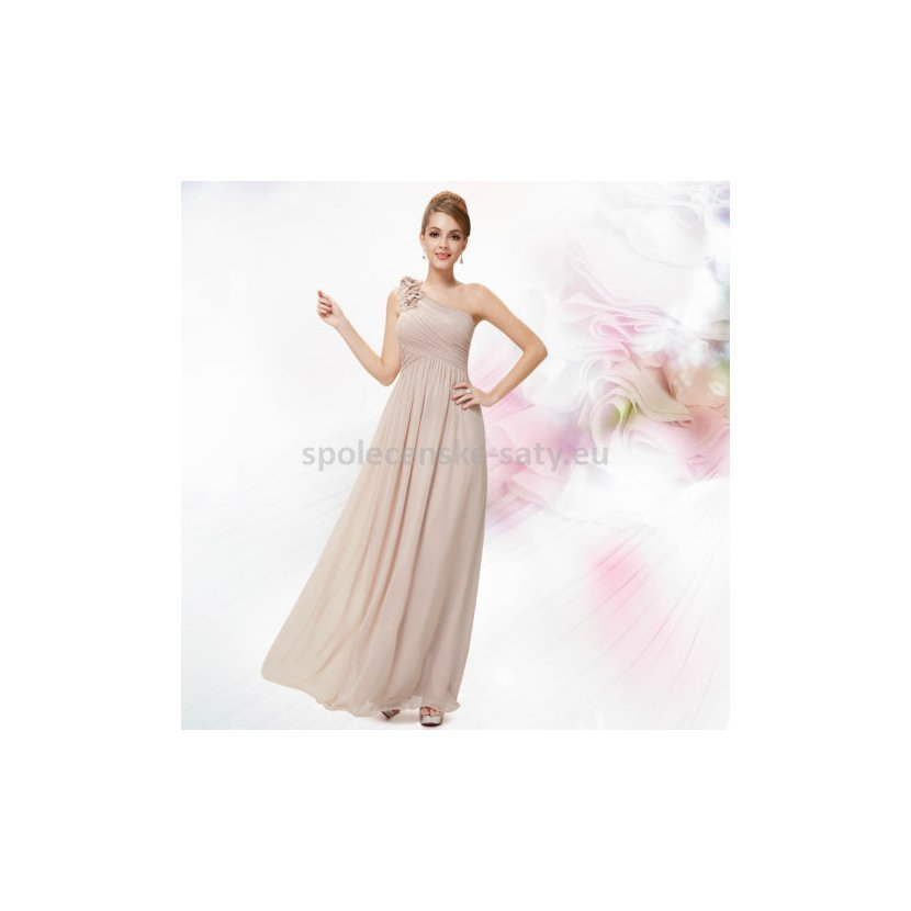 Béžové dlouhé společenské šaty na jedno rameno jednoduché 42 XL ... e32036cef8
