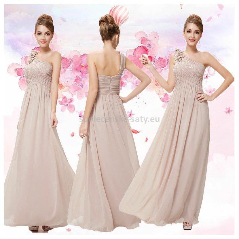 Béžové dlouhé společenské šaty na jedno rameno jednoduché 42 XL ... a8bf51471a0