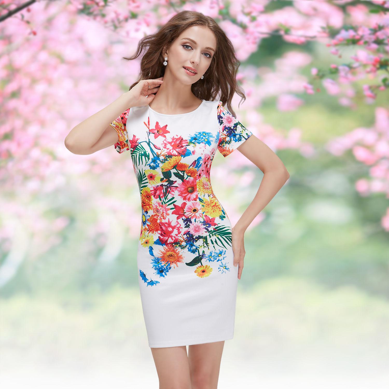 Bílé krátké letní pouzdrové šaty s potiskem a rukávem 36 S výprodej ... 0e8fe3cb5e