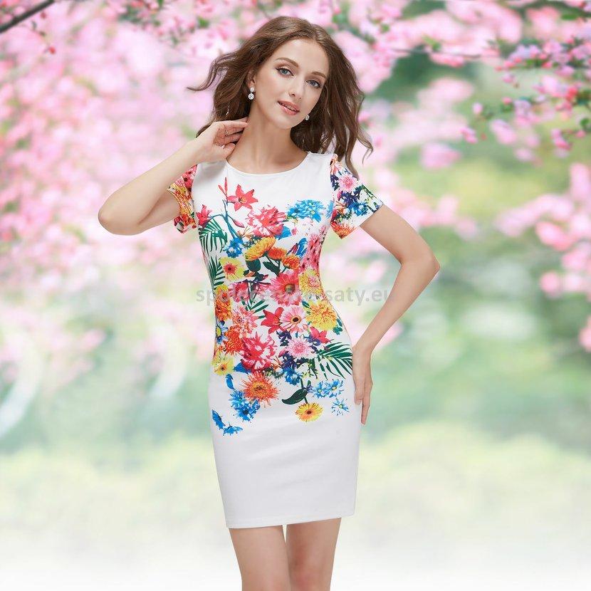 Bílé krátké letní pouzdrové šaty s potiskem a rukávem 36 S výprodej ... 1d3ff6c687