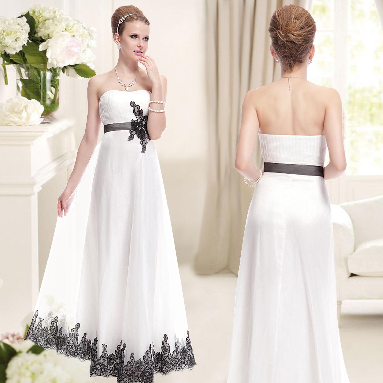 Bílé svatební šaty bez ramínek s černou výšivkou 42 XL b448352b4e