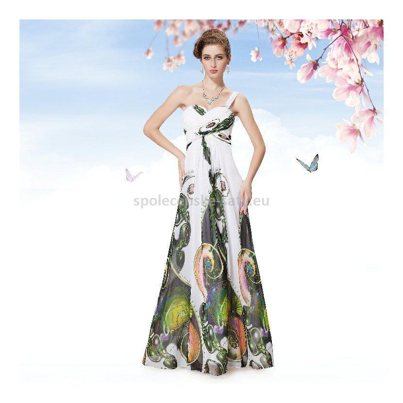 Bílé dlouhé letní společenské šaty se vzorem 36 S  4159e5b282