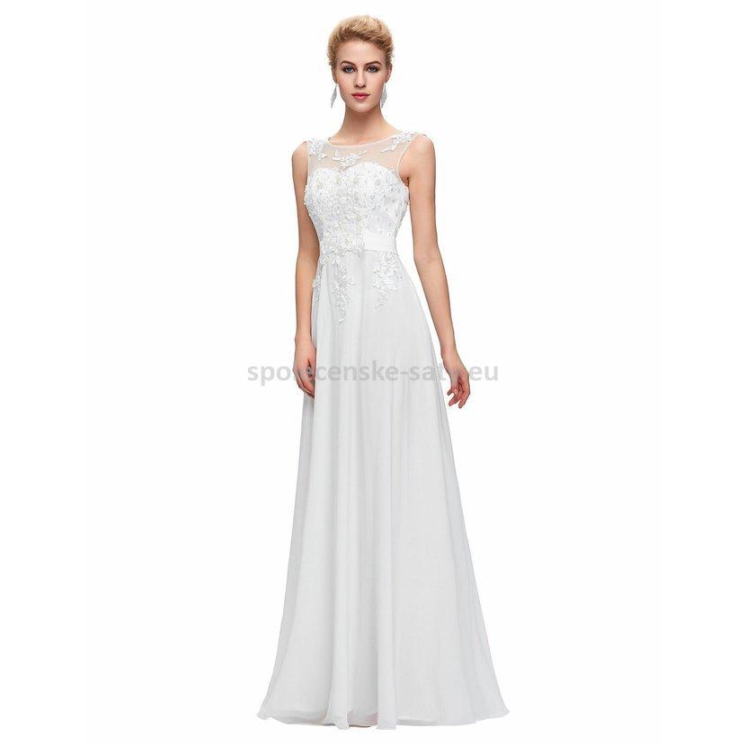 5f6380e7e76 Bílé dlouhé svatební šaty luxusní na hrubší ramínka 34 XS ...