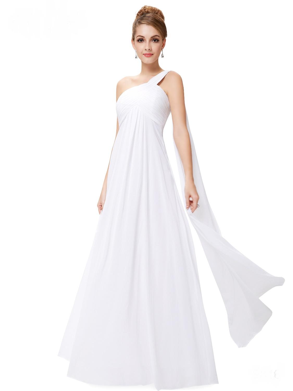 7aa2e6e0023 Bílé dlouhé svatební šaty na rameno empírové i pro těhotné 34 XS ...