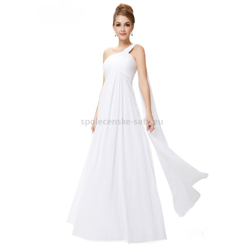 Bílé dlouhé svatební šaty na rameno empírové i pro těhotné 34 XS ... 70b19828e3