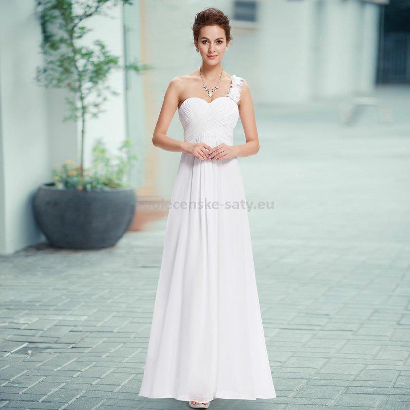 Bílé dlouhé svatební šaty na jedno rameno i pro těhotné 42 XL ... 445cc821c9