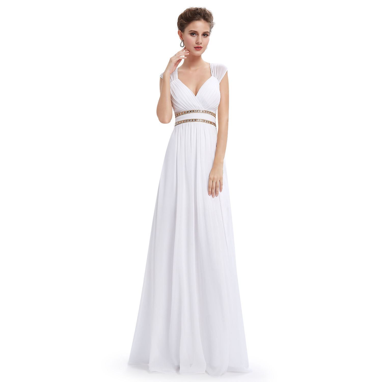 b0a900ac96d Bílé dlouhé svatební šaty ve stylu řecké bohyně 40-42
