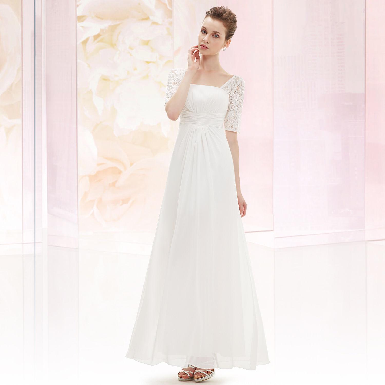 cb0e9bcb605 Bílé dlouhé svatební šaty s krajkovým rukávem elegantní 42 XL ...