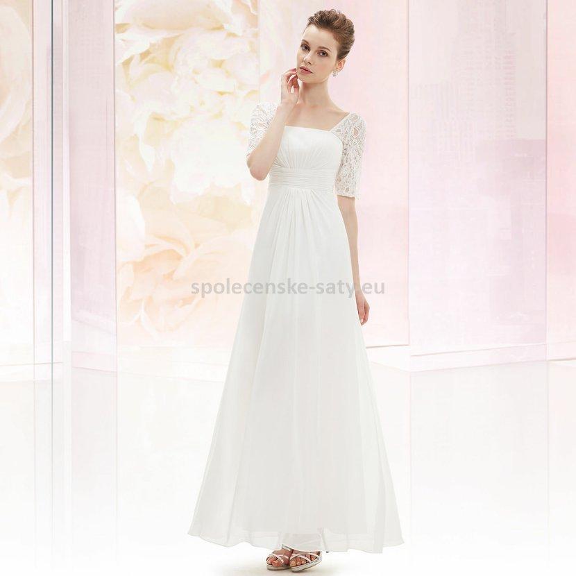 a77f93e73fa Bílé dlouhé svatební šaty s krajkovým rukávem elegantní 38 M ...