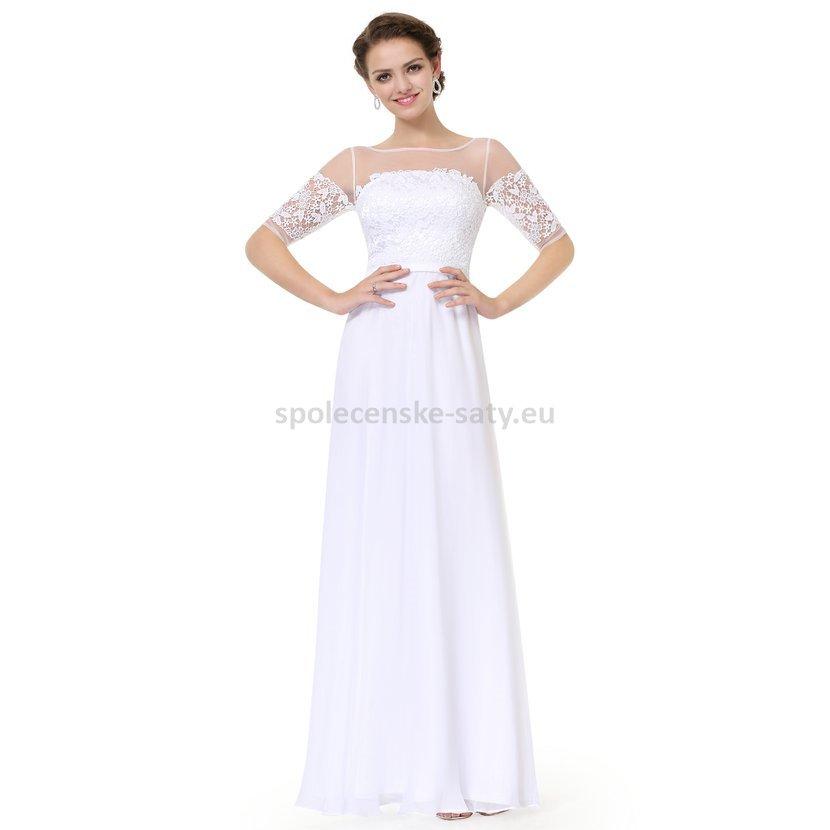 4c0bee13f19c Bílé dlouhé svatební šaty s rukávem elegantní 44 XXL