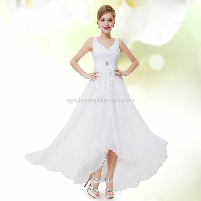 c35de194202 Bílé dlouhé společenské šaty na hrubší ramínka vpředu kratší 36 S ...