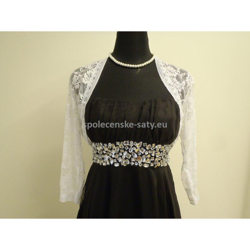 Bílé krajkové bolerko s 3 4 rukávem na svatební společenské šaty 46-48 XXXL 881a564cf7