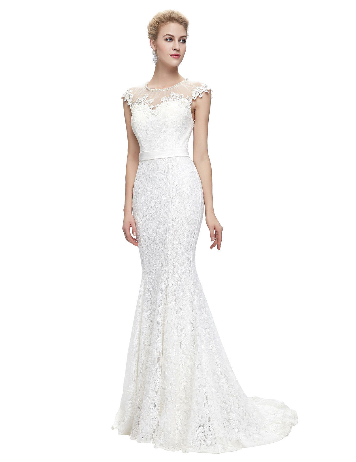 Bílé dlouhé svatební šaty krajkové pouzdrové s mini rukávkem 38 M ... 25dd7cfa42