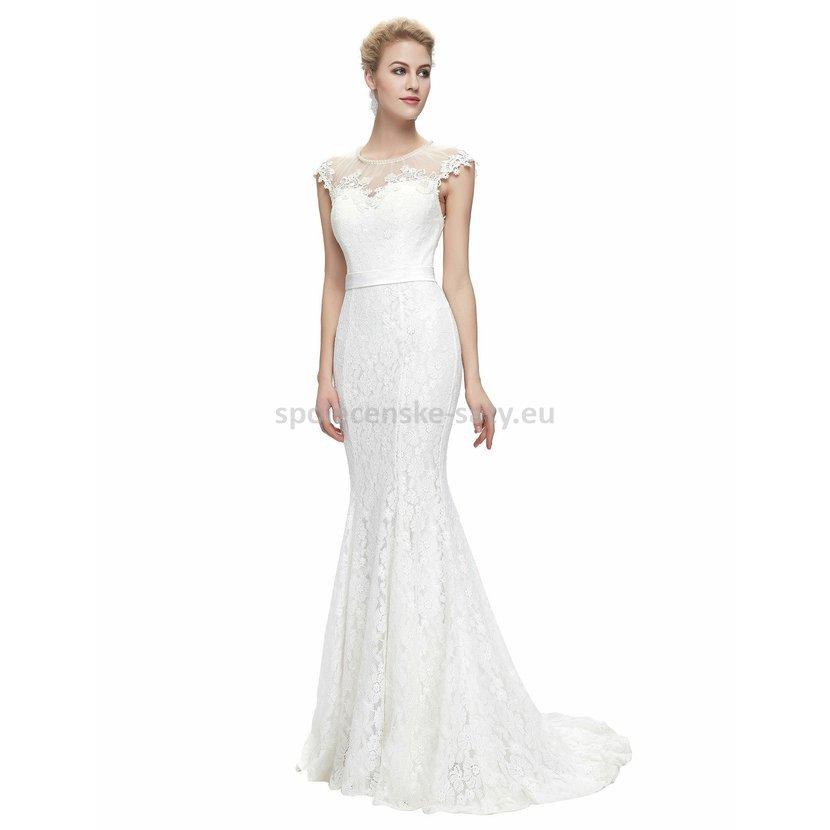 ff64a44bee8 Bílé dlouhé svatební šaty krajkové pouzdrové s mini rukávkem 38 M ...