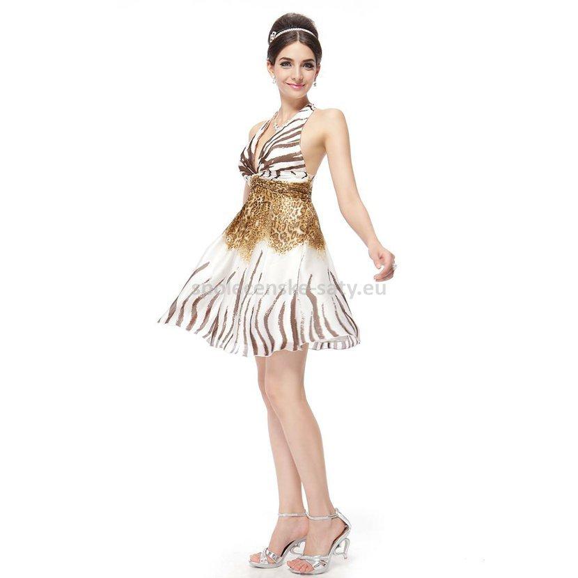 Bílé krátké letní společenské šaty za krk se zvířecím vzorem 40 L MEGA  výprodej a0974847fb