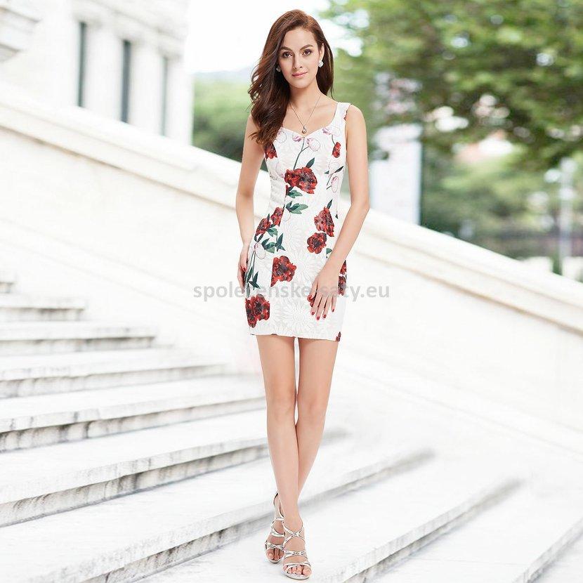 a0adabba67f6 Bílé krátké společenské šaty pouzdrové s růžema 34 XS