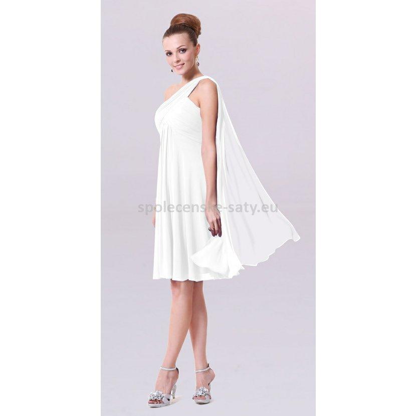 Bílé krátké společenské svatební šaty na jedno rameno i pro těhotné 34 XS  výprodej 35265e14fa2