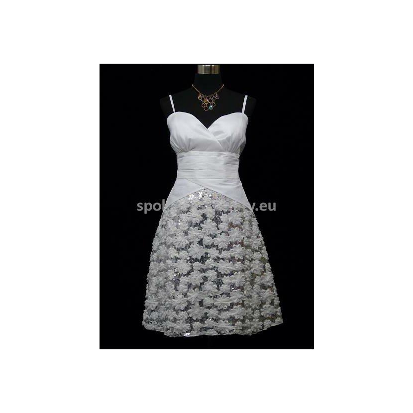 Bílé krátké svatební plesové šaty na ramínka 40-42 L-XL ... e2fe40dd14f