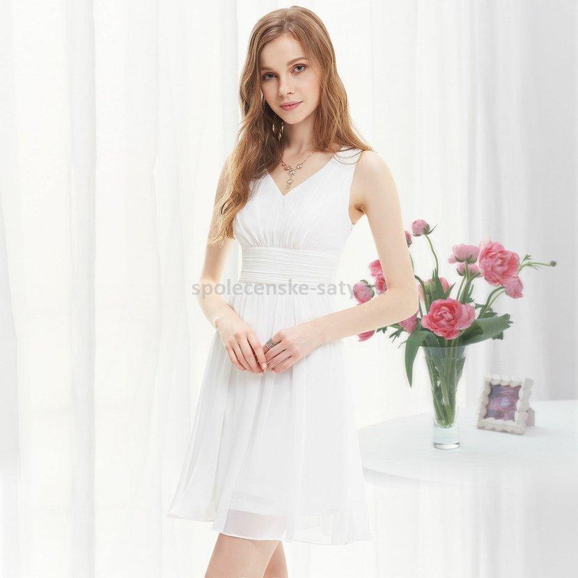 Bílé krátké svatební šaty společenské na hrubší ramínka pro nevěstu  družičku 44 XXL 28d81cd85dd