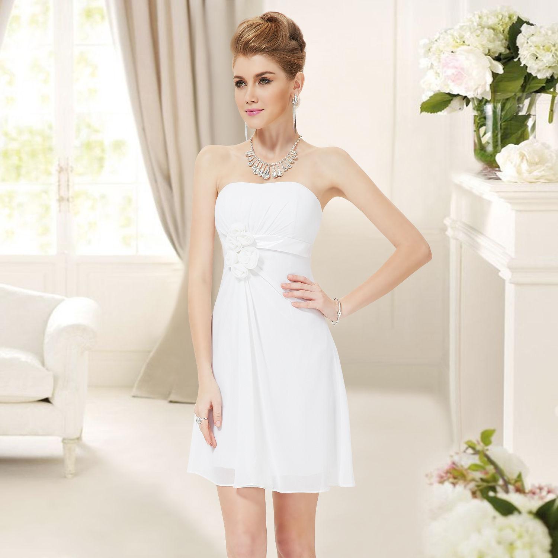 Bílé krátké svatební šaty společenské bez ramínek pro nevěstu šaty  popůlnoční 46 XXXL  98c708eeff