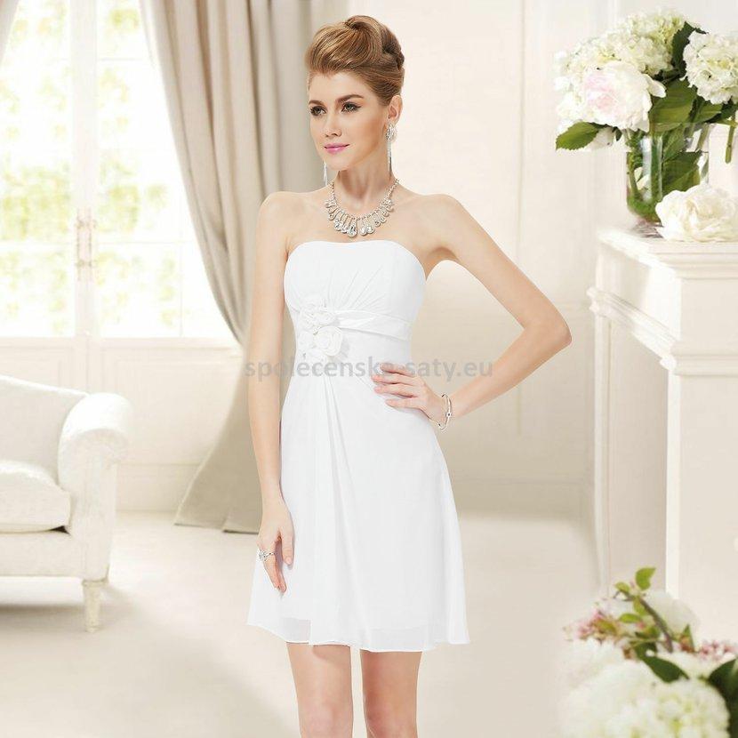 Bílé krátké svatební šaty společenské bez ramínek pro nevěstu šaty  popůlnoční 46 XXXL 5cdf689516