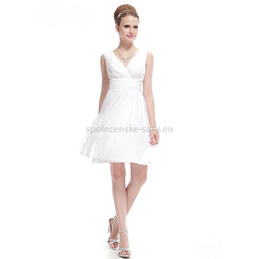 Bílé krátké svatební šaty společenské na hrubší ramínka pro nevěstu  družičku 40 L f08437a989