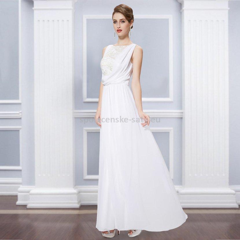 Bílé dlouhé svatební společenské šaty šifon antická bohyně 40 L ... a3dfd6fedd