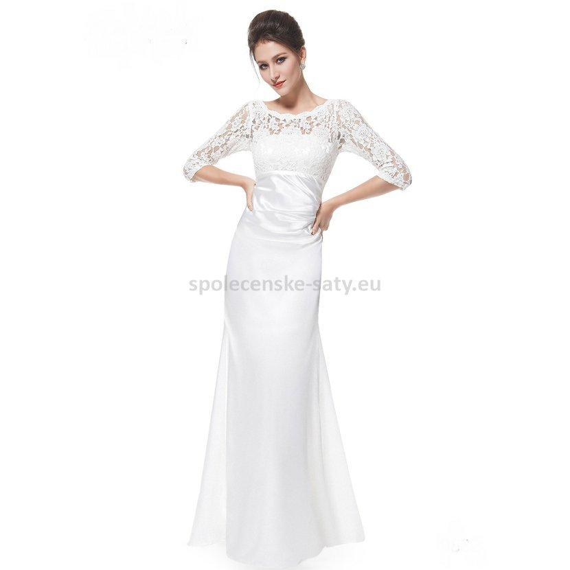 6c86011a2c41 Bílé dlouhé pouzdrové šaty svatební s 3 4 krajkovým rukávem elegantní 46  XXXL