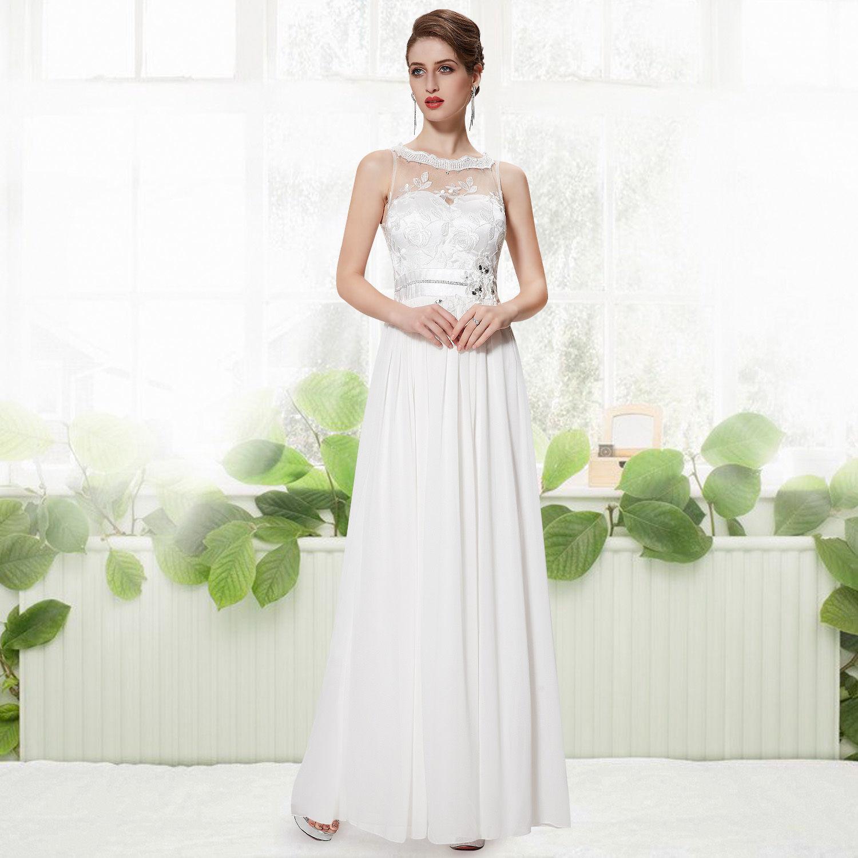 Bílé dlouhé luxusní svatební šaty bez rukávů s krajkou 40 L výprodej ... 133abb99a0