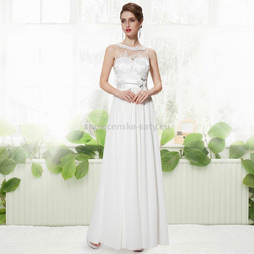 Bílé dlouhé luxusní svatební šaty bez rukávů s krajkou 40 L výprodej ... 8140e3b5e4