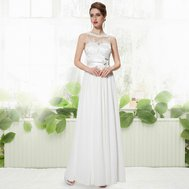 33be280877e Bílé dlouhé svatební společenské šaty šifon antická bohyně 40 L ...