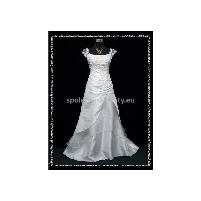801424a35dd Bílé dlouhé svatební šaty na hrubší ramínka pro plnoštíhlé 48-50