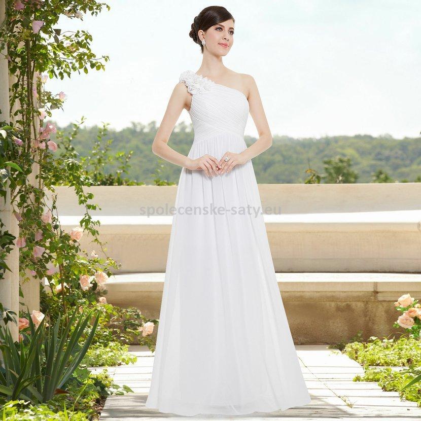 Bílé dlouhé svatební šaty na jedno rameno jednoduché 34-36 ... 34b8bb0da5c