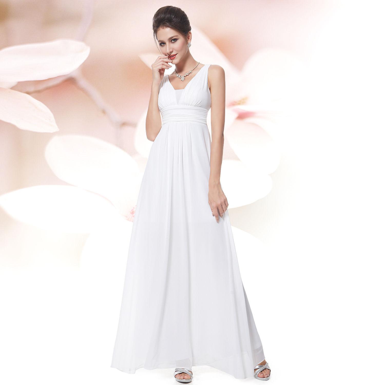 97d01fad148 Bílé dlouhé šifonové šaty na svatbu do tanečních na věneček závěrečnou 42  XL
