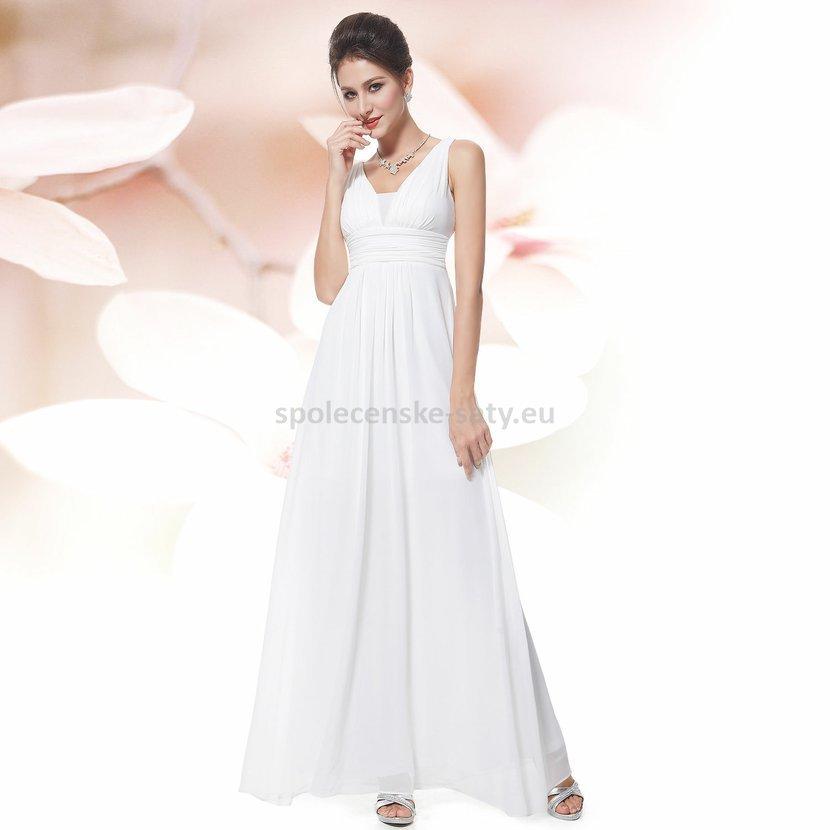 ac7689e3640 Bílé dlouhé šifonové šaty na svatbu do tanečních na věneček závěrečnou 42 XL