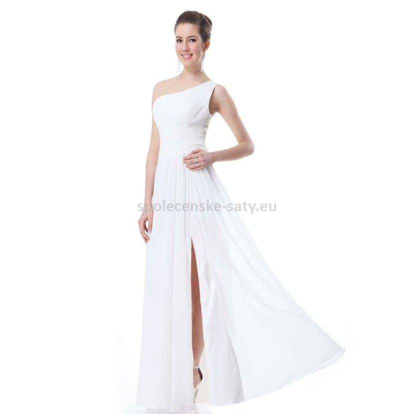 87ec99c9946 Bílé dlouhé svatební šaty na jedno rameno 44 XXL